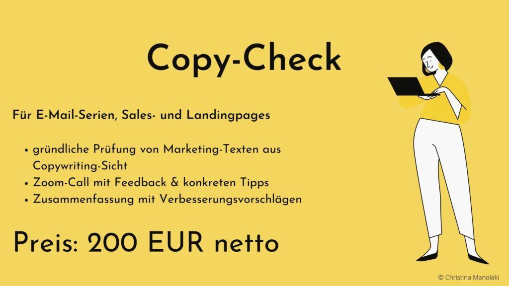 Marketing-Texte prüfen lassen Copy-Check